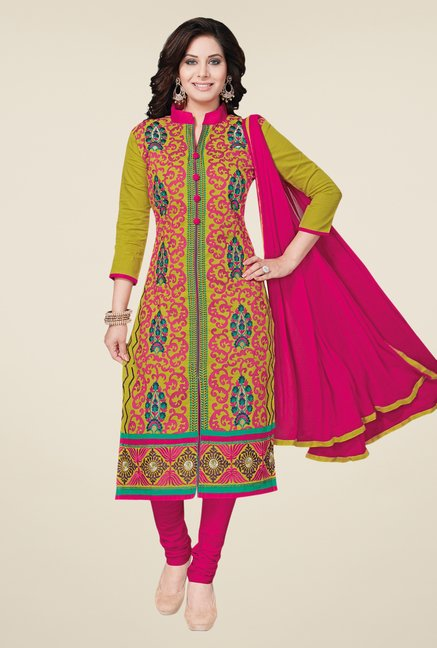 Salwar Studio Olive & Deep Pink Dress Material
