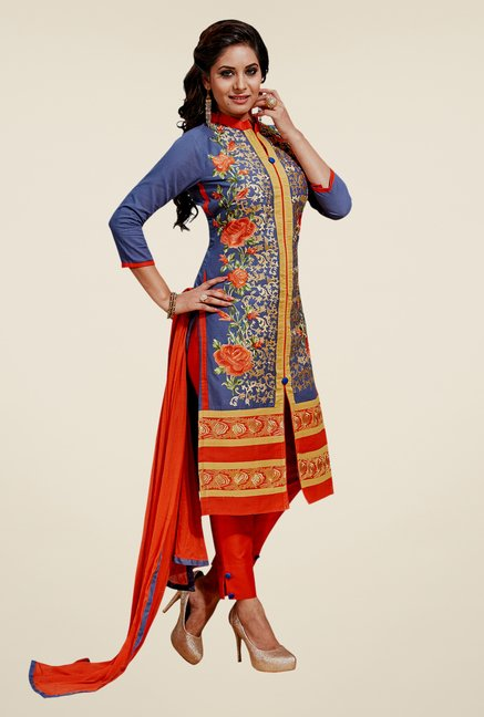Salwar Studio Grey & Orange Cotton Dress Material