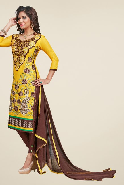 Salwar Studio Yellow & Brown Embroidered Dress Material