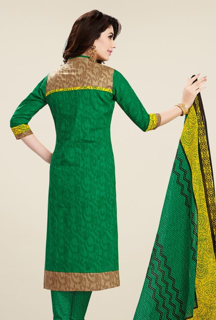 Salwar Studio Lemon & Green Printed Dress Material