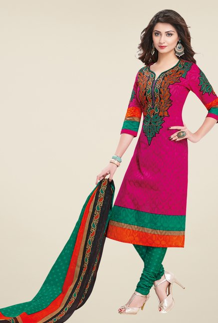 Salwar Studio Pink & Green Printed Dress Material