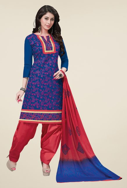 Salwar Studio Blue & Coral Embroidered Dress Material