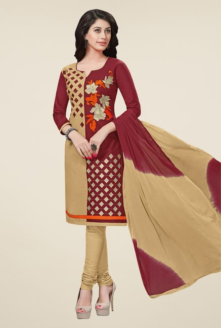 Salwar Studio Brown & Beige Free Size Dress Material