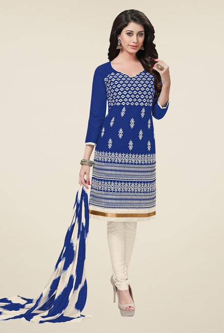 Salwar Studio Blue & Off White Embroidered Dress Material