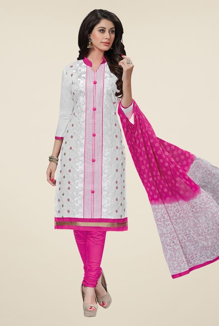Salwar Studio White & Pink Embroidered Cotton Dress Material