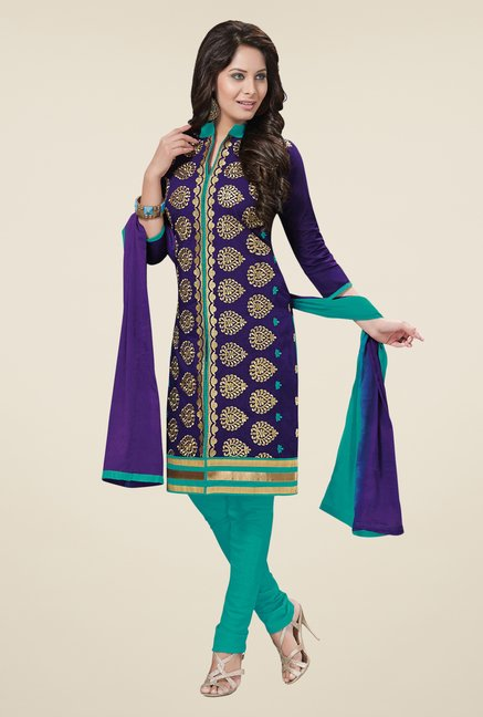 Salwar Studio Violet & Mint Green Embroidered Dress Material