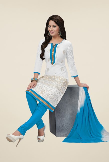 Salwar Studio White & Blue Embroidered Cotton Dress Material