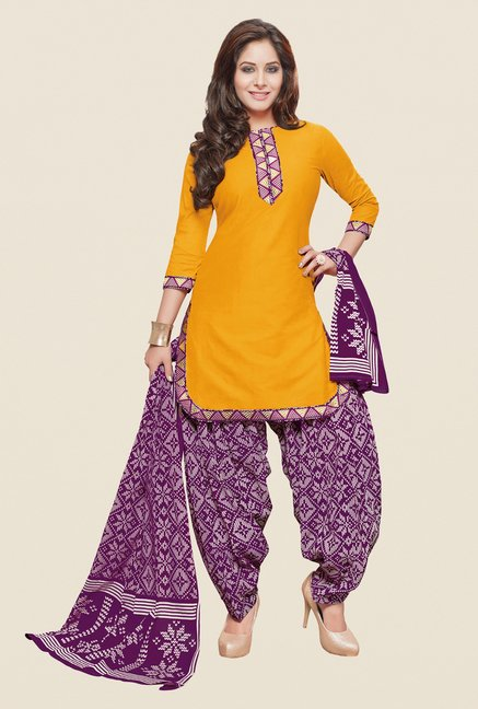 Salwar Studio Yellow & Purple Patiyala Dress Material
