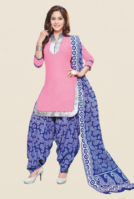 Salwar Studio Light Pink & Blue Patiyala Dress Material