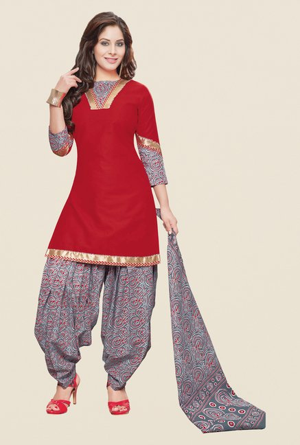 Salwar Studio Red & Grey Printed Patiyala Dress Material