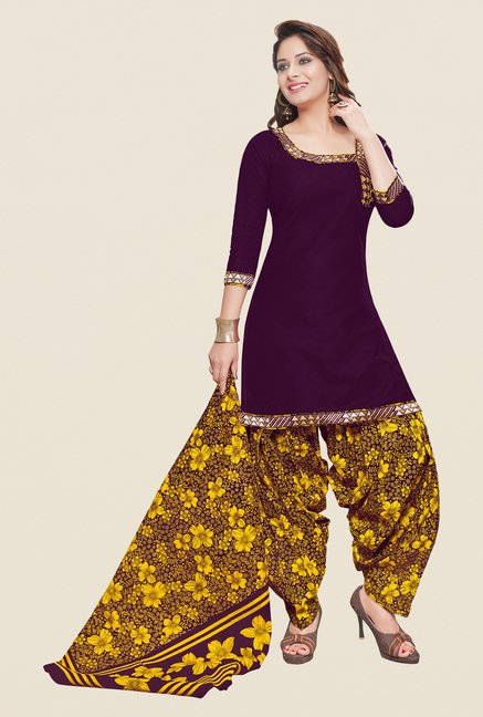 Salwar Studio Wine & Dark Yellow Patiyala Dress Material