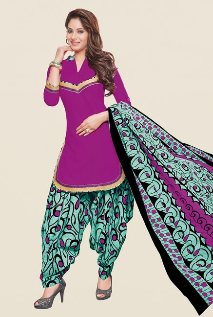 Salwar Studio Purple & Sea Green Patiyala Dress Material