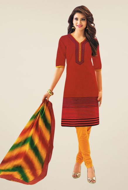 Salwar Studio Red & Dark Yellow Striped Dress Material