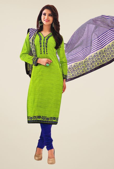 Salwar Studio Parrot Green & Blue Striped Dress Material