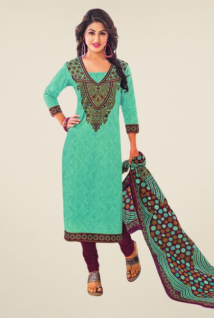 Salwar Studio Sea Green & Violet Printed Dress Material