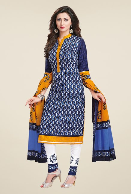 Salwar Studio Navy & White Printed Dress Material