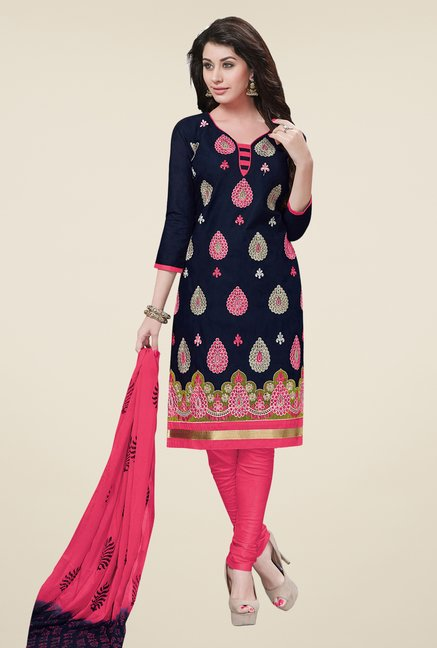 Salwar Studio Navy & Pink Embroidered Dress Material