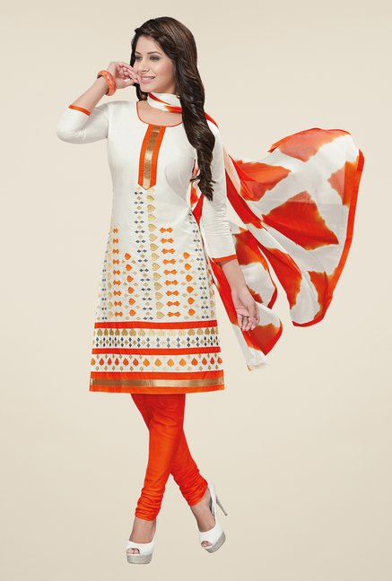 Salwar Studio White & Orange Embroidered Dress Material