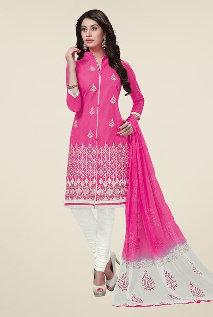 Salwar Studio Pink & White Cotton Dress Material
