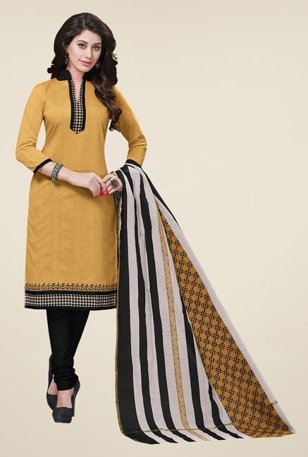 Salwar Studio Beige & Black Embroidered Dress Material
