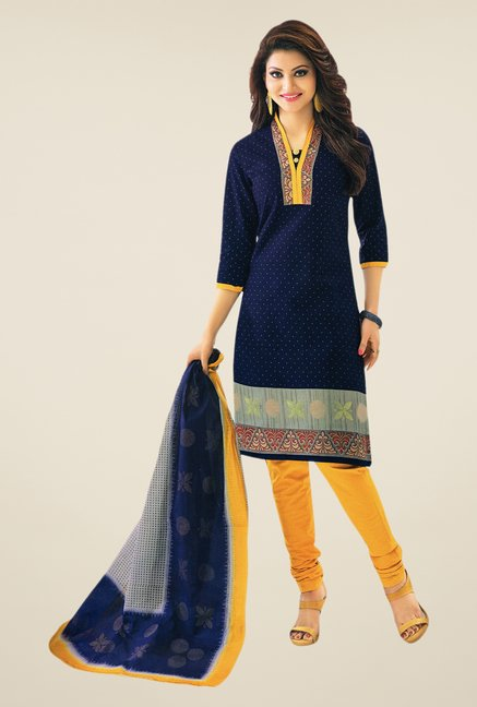 Salwar Studio Navy & Dark Yellow Printed Dress Material