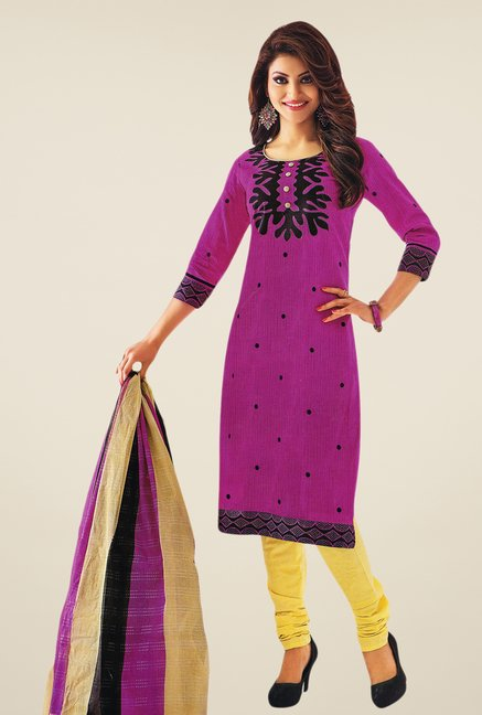 Salwar Studio Purple & Fawn Printed Dress Material