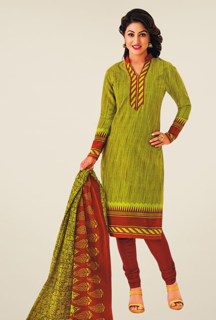 Salwar Studio Green & Maroon Printed Cotton Dress Material