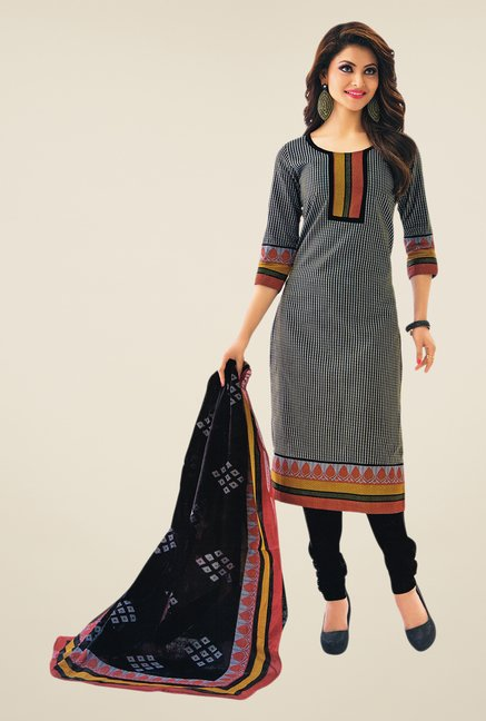 Salwar Studio Black Printed Dress Material