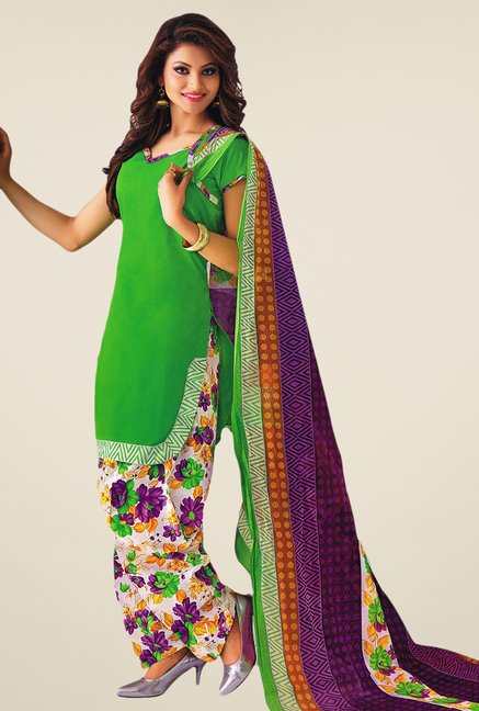 Salwar Studio Parrot Green & Violet Printed Dress Material