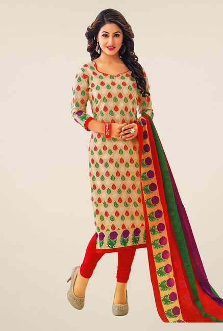 Salwar Studio Beige & Red Printed Cotton Dress Material