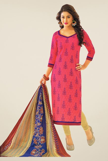 Salwar Studio Light Pink & Beige Printed Dress Material