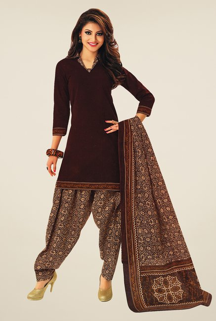 Salwar Studio Dark Brown & Beige Printed Dress Material