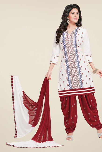 Salwar Studio White & Red Patiyala Dress Material