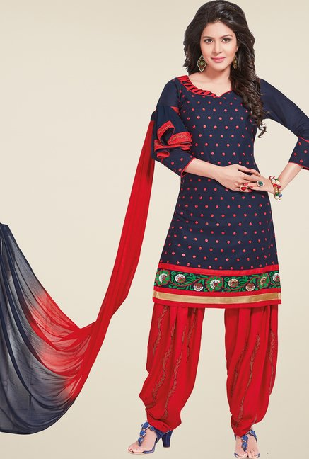 Salwar Studio Navy & Red Embroidered Patiyala Dress Material