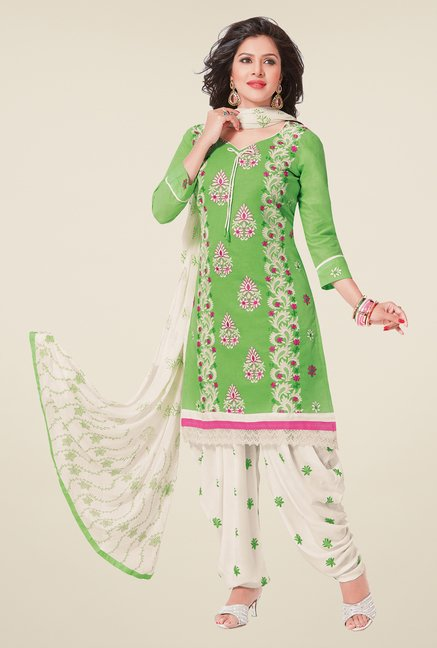 Salwar Studio Pastel Green & White Patiyala Dress Material