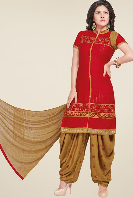 Salwar Studio Red & Beige Patiyala Dress Material