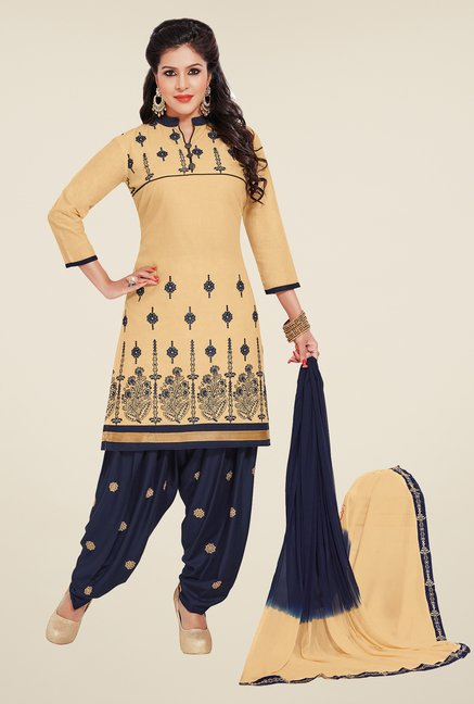 Salwar Studio Fawn & Navy Patiyala Dress Material