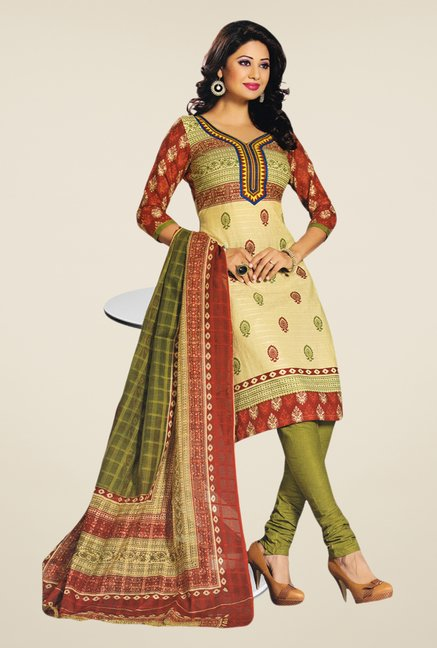 Salwar Studio Beige & Mehndi Printed Dress Material