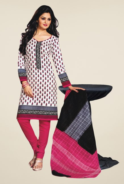 Salwar Studio White & Pink Printed Dress Material