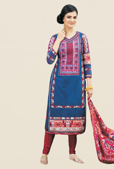 Salwar Studio Blue & Magenta Printed Cotton Dress Material