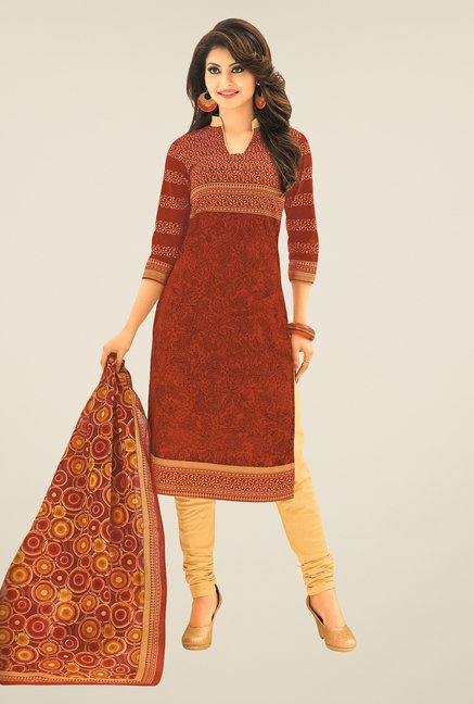 Salwar Studio Brown & Beige Printed Free Size Dress Material