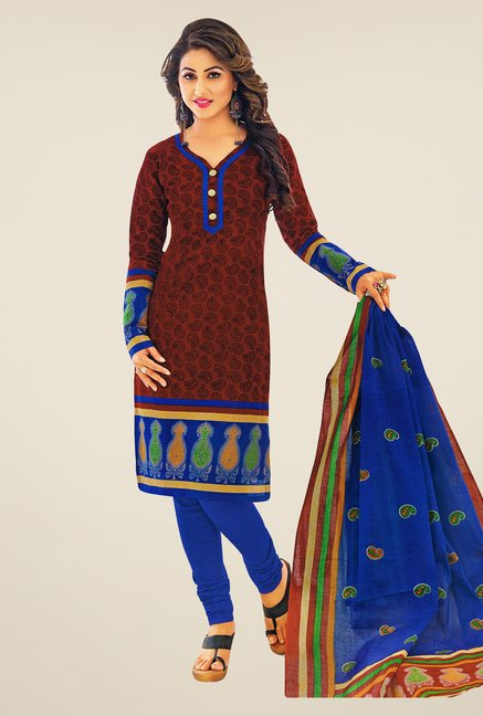 Salwar Studio Brown & Blue Printed Dress Material