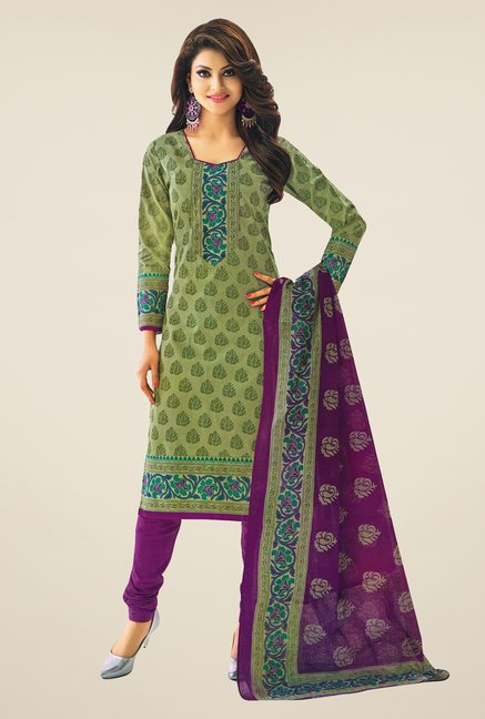 Salwar Studio Green & Violet Printed Dress Material