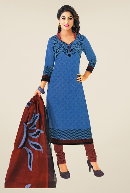 Salwar Studio Blue & Brown Printed Dress Material