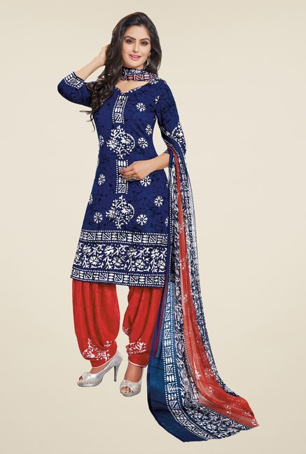 Salwar Studio Dark Blue & Red Synthetic Dress Material