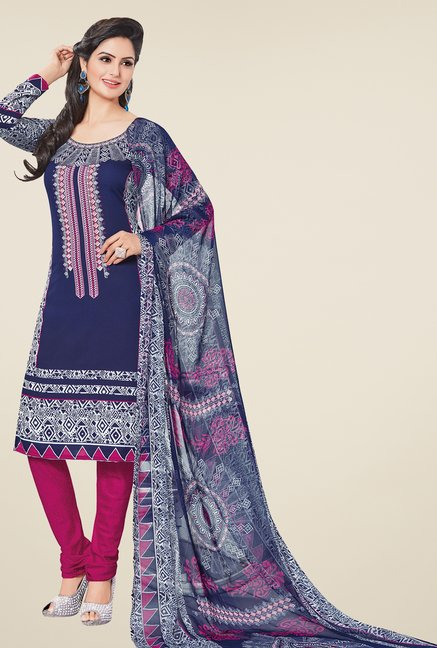 Salwar Studio Dark Blue & Pink Printed Dress Material