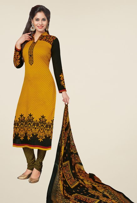 Salwar Studio Mustard & Black Printed Dress Material