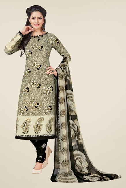 Salwar Studio Fawn & Black Printed Dress Material