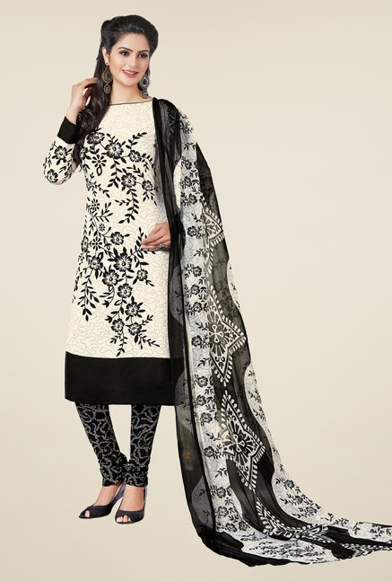 Salwar Studio White & Black Printed Dress Material