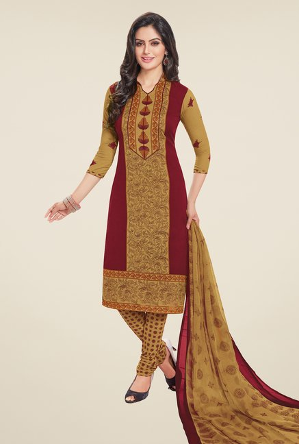 Salwar Studio Maroon & Beige Printed Dress Material